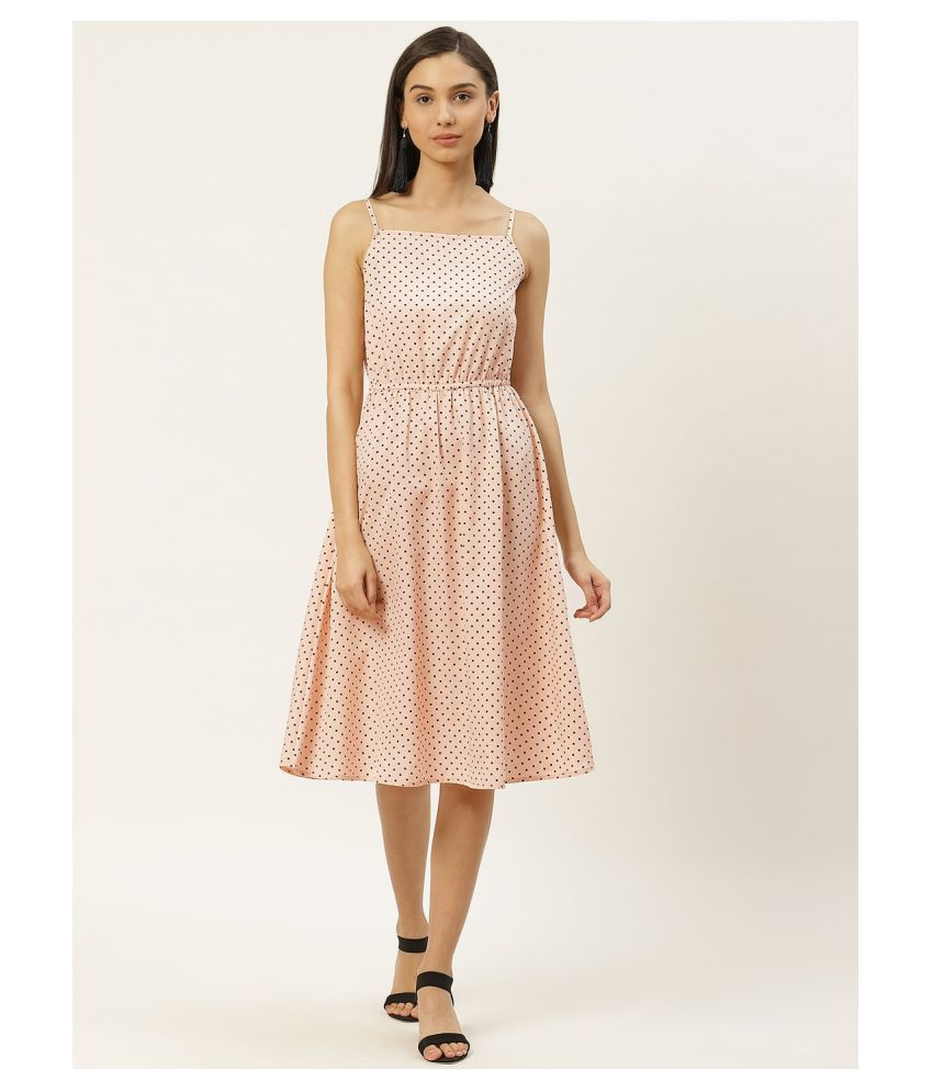 RIVI Poly Crepe Peach Shift Dress