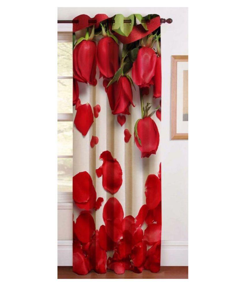 BM Creation Single Window Semi-Transparent Eyelet Polyester Curtains Red