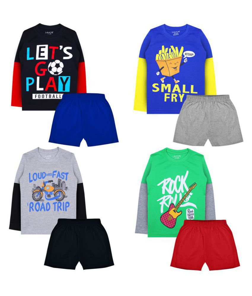 Luke and Lilly Boy's Cotton Full Sleeve T-Shirt and Shorts_Pack of 4