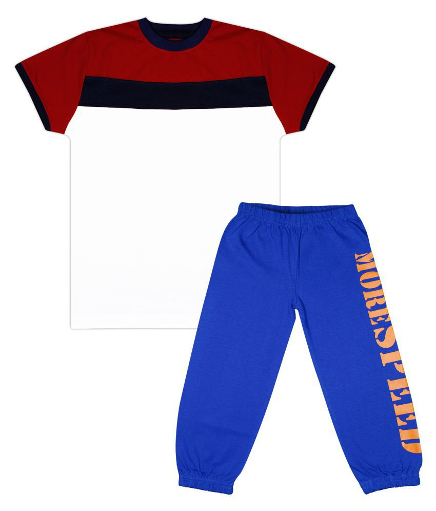 Luke and Lilly Boys Pack Of 1 Cotton Colorblock T-shirts with Trackpant