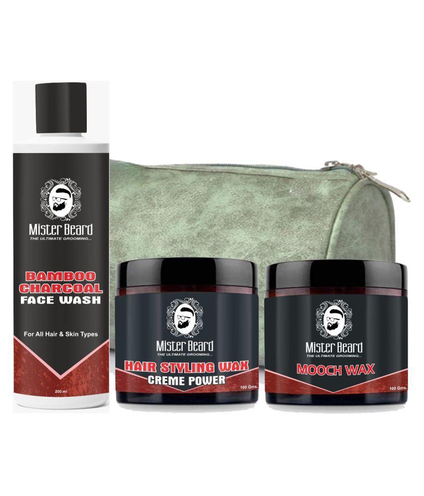 MISTER BEARD Hair Wax Crème Power,Mooch Wax Free Bag,Charcoal Face Wash 200 mL Pack of 3