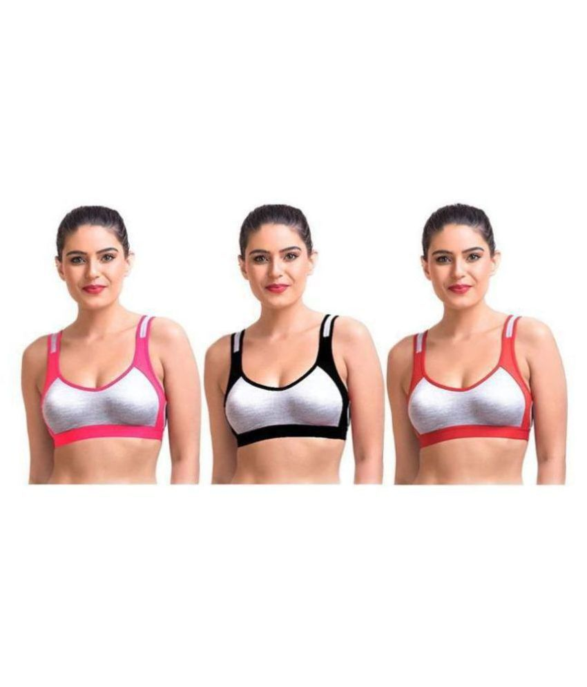 Daily Touch Pink,Black,Red Cotton Solid Sports Bra