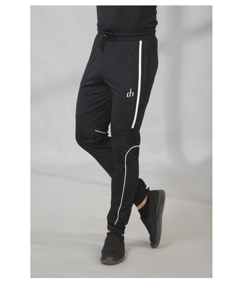 Devhim Black Polyester Lycra Joggers