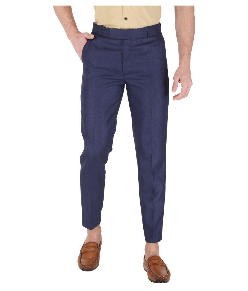 K.S.BRAND Blue Regular -Fit Flat Trousers