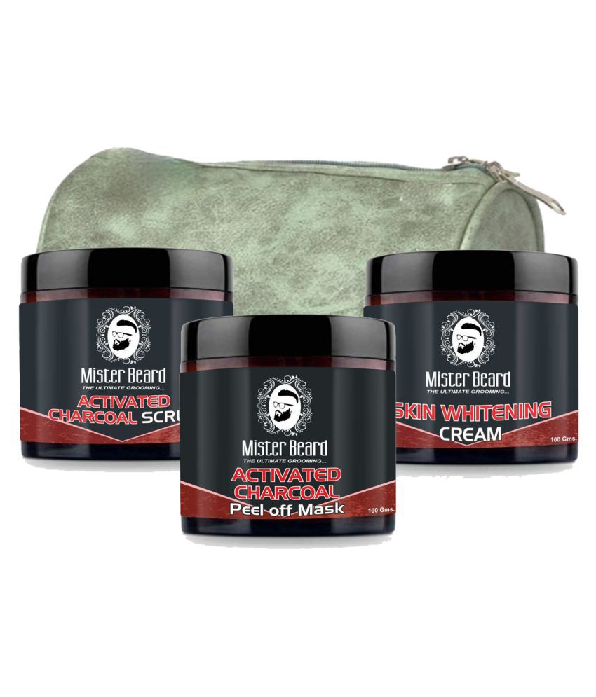 MISTER BEARD Skin Whitening Cream,Charcoal Face Pack Free Bag And Charcoal Facial Scrub 100 g Pack of 3