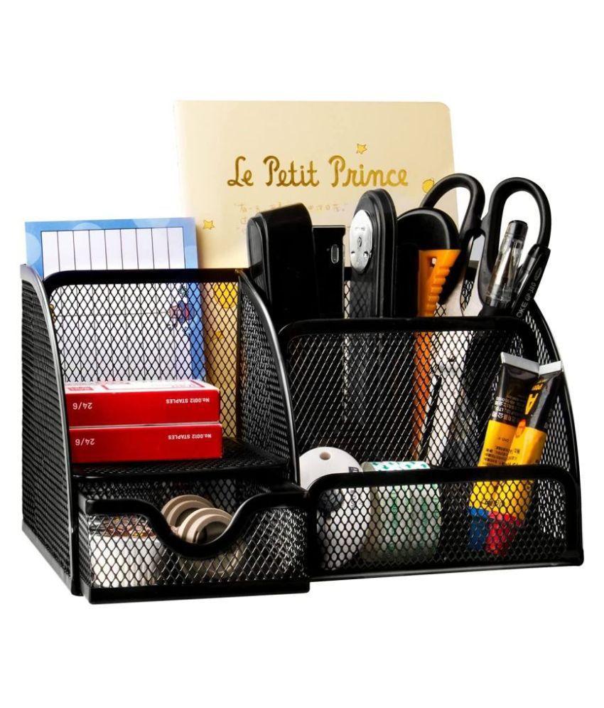 NFI essentials Mesh Metal Desk Organizer, Black, Office Stationary Stand Holder, Study Table Organizer