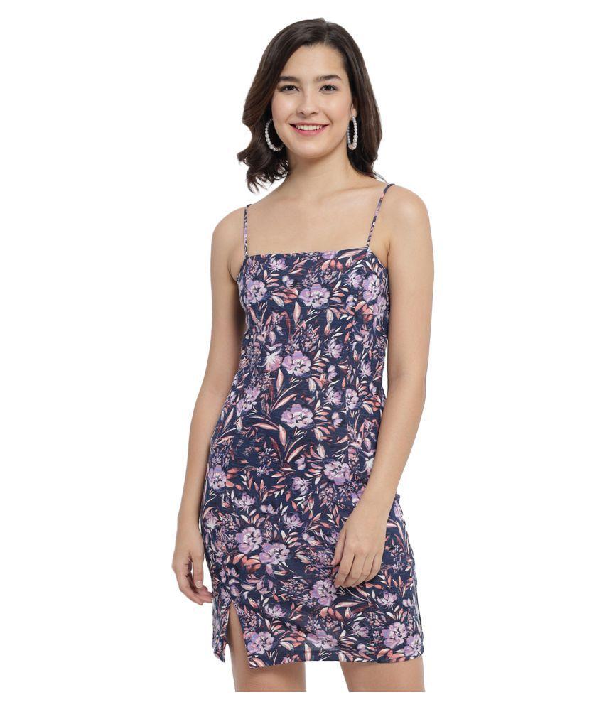 Trend Arrest Cotton Multi Color Bodycon Dress -