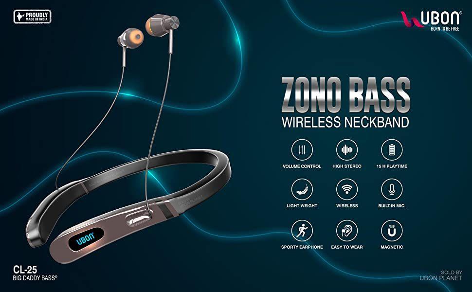 UBON CL 25 ZONO BASS Neckband Wireless With Mic Headphones/Earphones  Bluetooth Headphone, Bluetooth Earphone