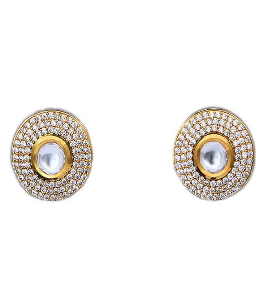 JewelryGift Ethnic Stud Earrings 14K Gold Plated Round Shape Kundan Cubic Zircon Handcrafted Designer Fashion Collection Jewellery for Women Girls Ladies