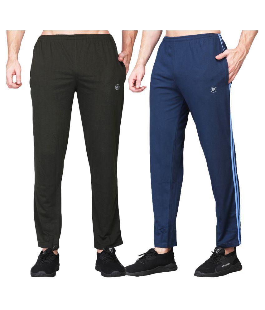 ZIMFIT Men's Running Cotton Blend Olive&Blue Trackpant's Pack of 2