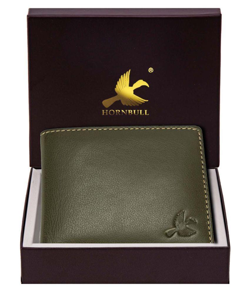 HORNBULL Maddison Men #039;s Olive Green Genuine Leather Wallet