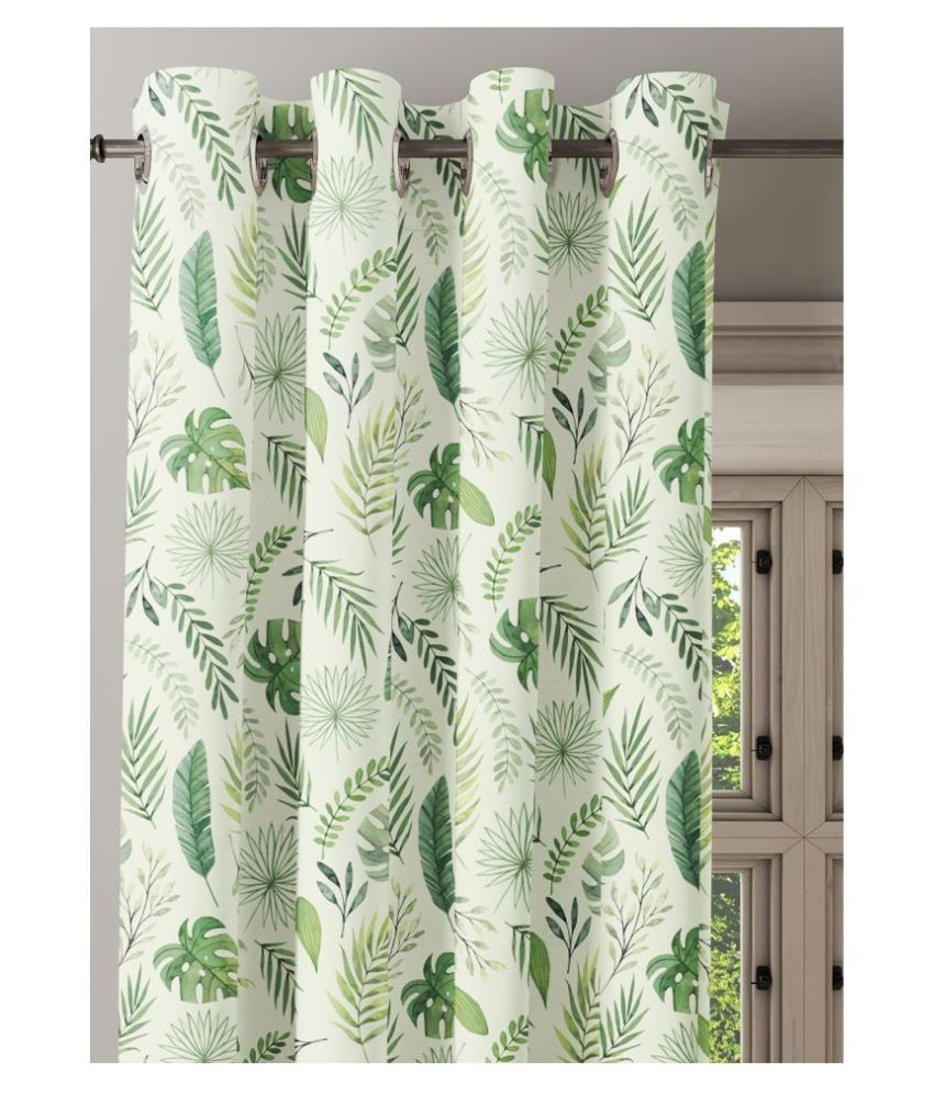 Ixora Decor Set of 2 Window Semi-Transparent Eyelet Cotton Curtains Green