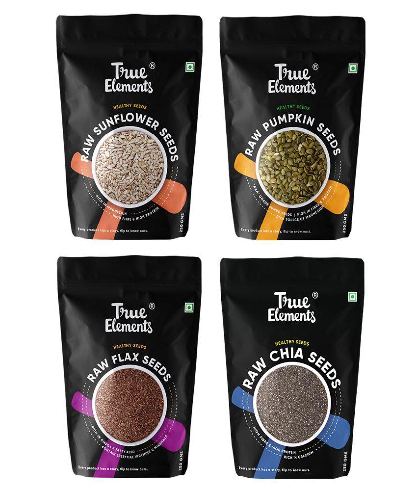 True Elements Raw Sunflower, Pumpkin, Flax and Chia seeds combo  each 250gm