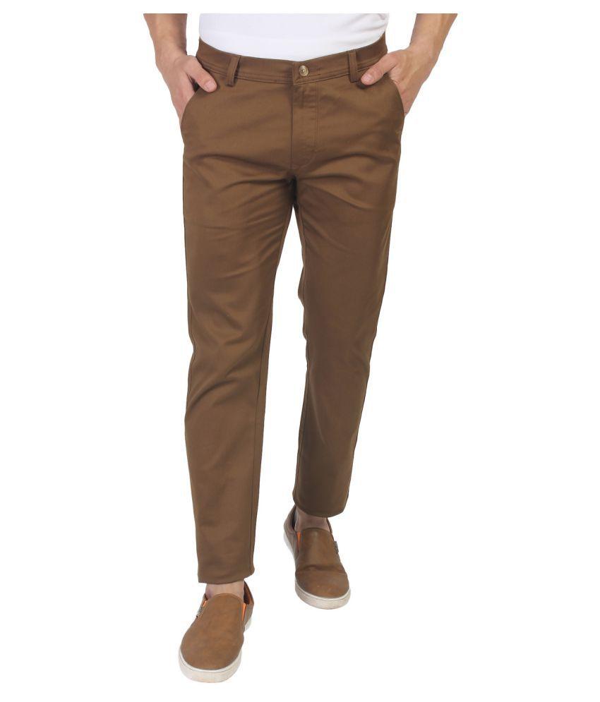 Fluidic Coffee Regular -Fit Flat Trousers