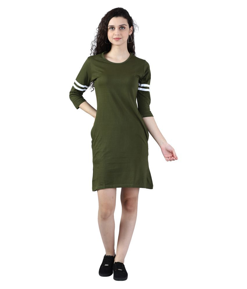 Broadstar Cotton Green Bodycon Dress - Single