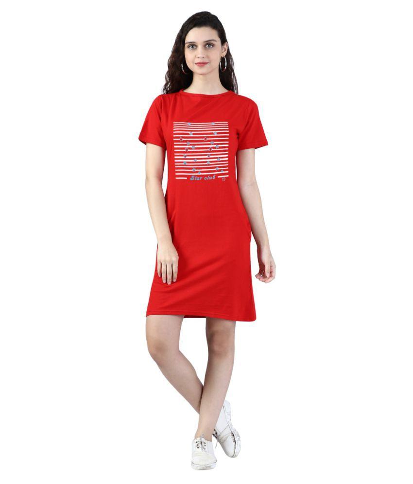 Broadstar Cotton RED Bodycon Dress - Single