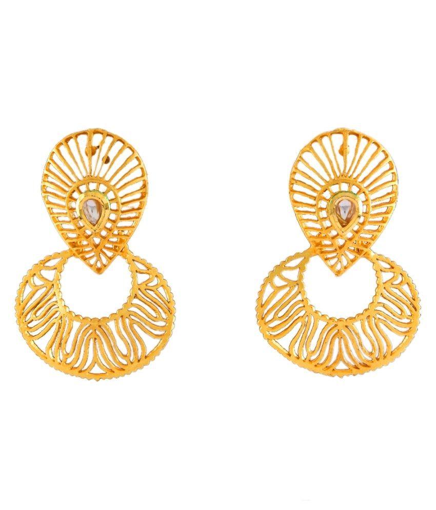 Dangle Earrings 18K Gold Plated Pearl Studded Pearl Marvellous Dangle Earrings 18K Gold Plated Pearl Studded for Girls Women Marvellous
