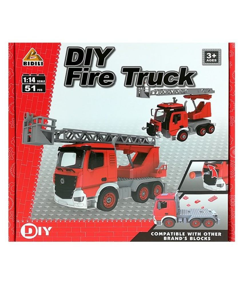DIY Fire Truck | 51 pcs | Educational Toys | Age 3+ | Fire Truck Shape | Building Blocks | STEM Learning, Mechanical Skills and Creativity