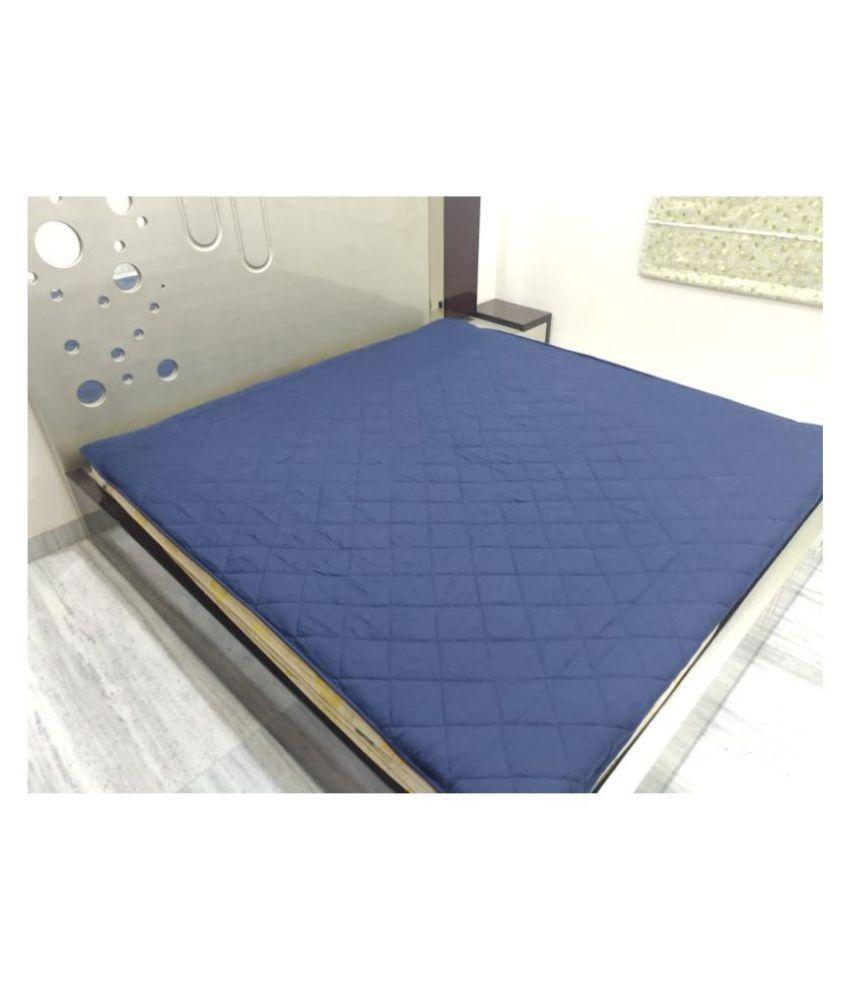 Home Saaj Blue Cotton Mattress Protector