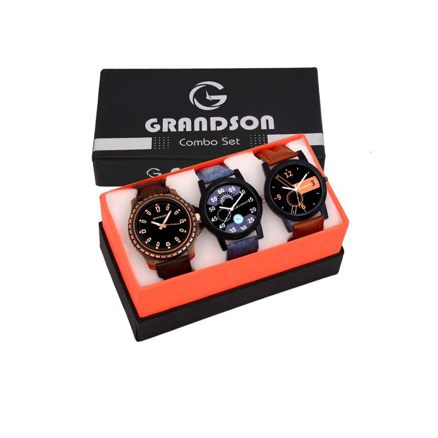 Grandson Analog Attractive set of 3 Watch Combo For Boys