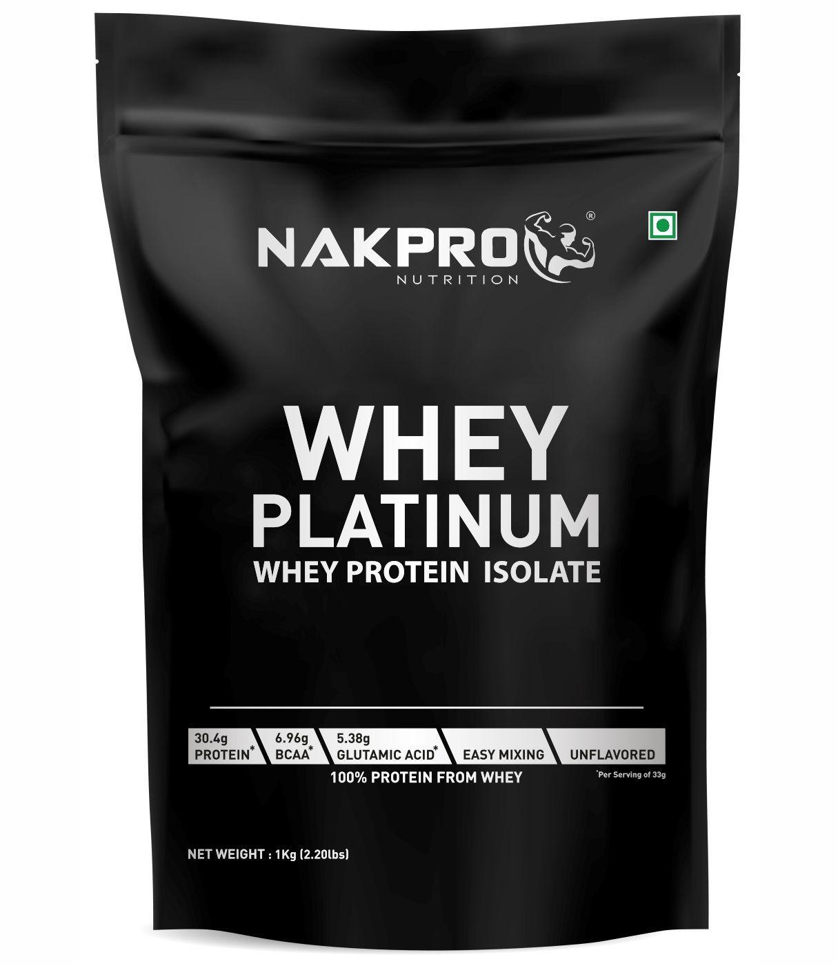 NAKPRO PLATINUM 100% Whey Protein Isolate - 30.4g Protein, 6.9 BCAA & 5.3g Glutamine, Whey Protein Isolate Supplement Powder, 1 Kg Unflavoured (30 Servings)