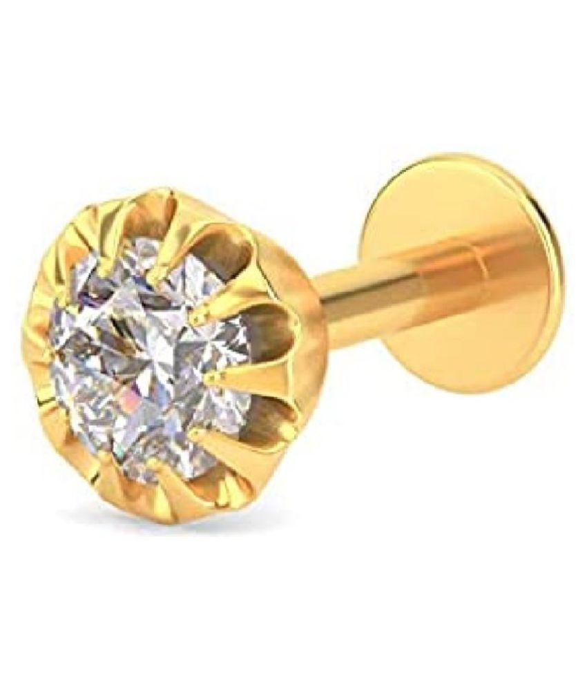 Kundli Gems - American diamond nose pin natural & original stone diamond nosepin Gold Plated for women & girls