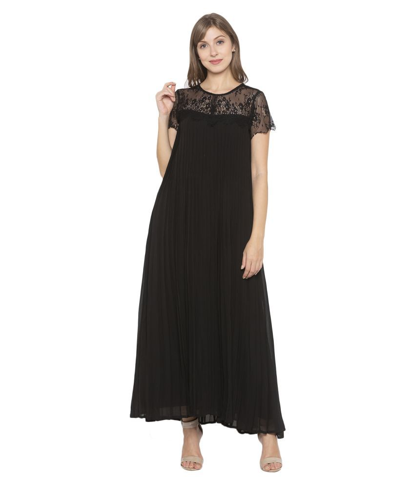 ITI Georgette Black Fit And Flare Dress
