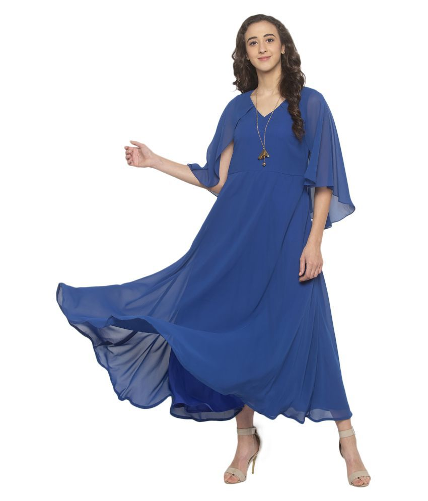 ITI Georgette Blue Fit And Flare Dress