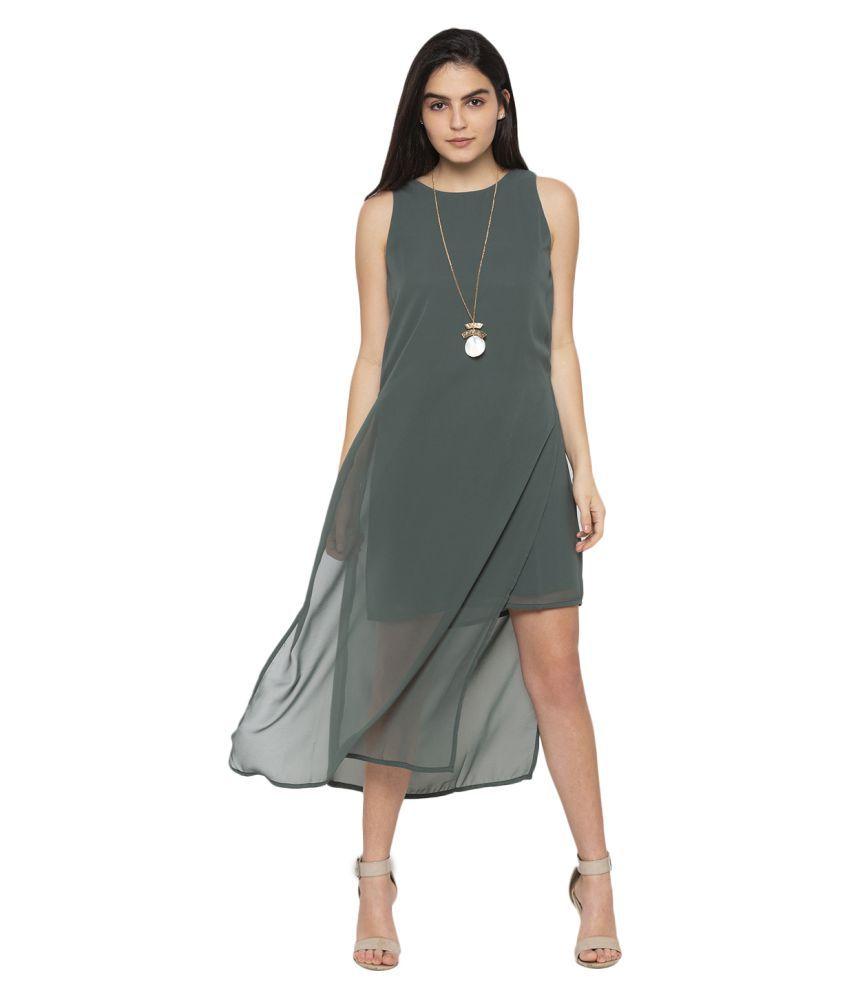 ITI Georgette Green Shift Dress