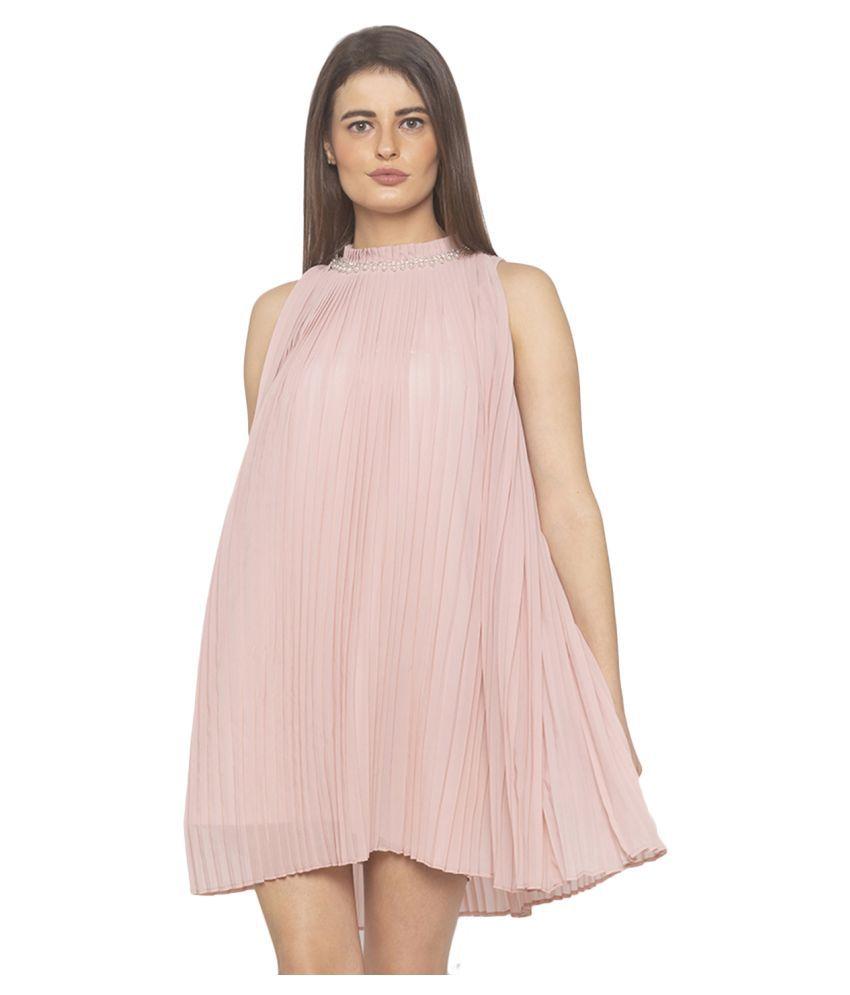 ITI Georgette Pink Skater Dress