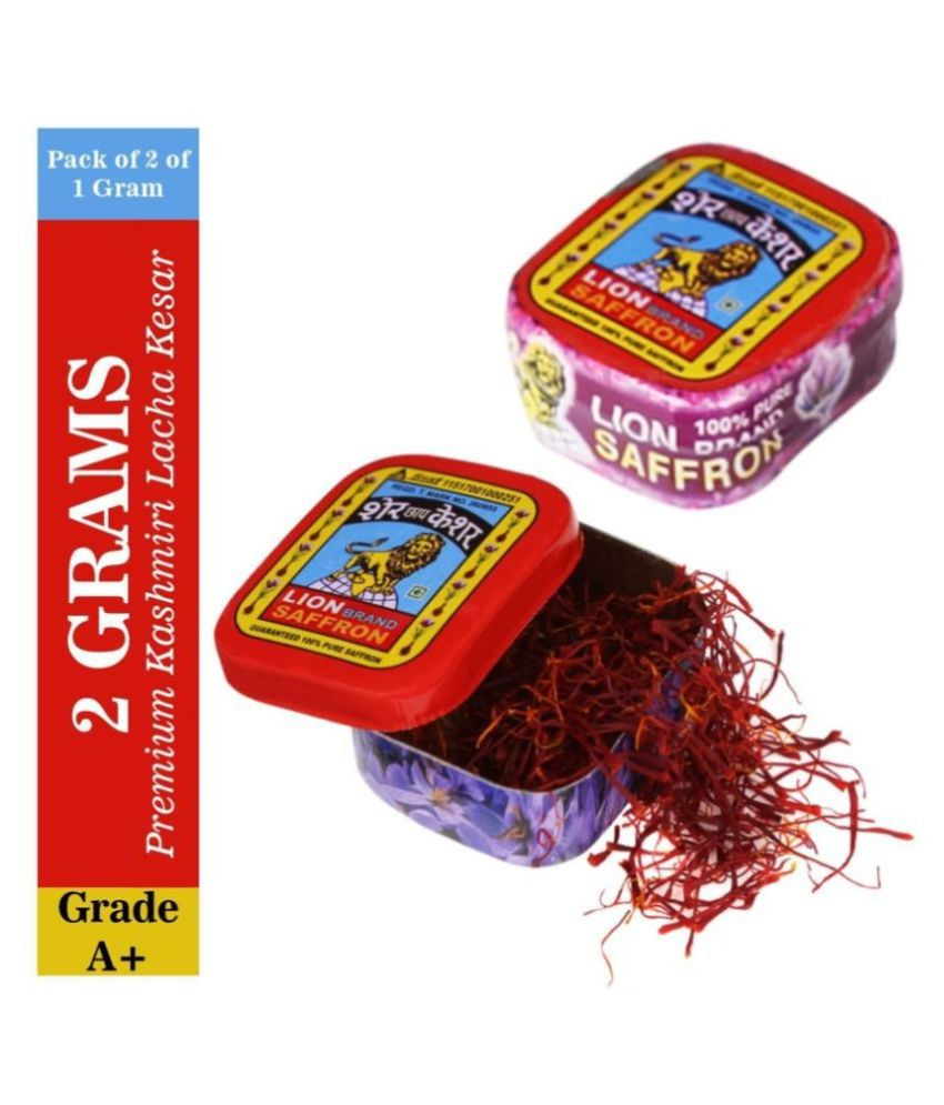 Lion Brand Premium Kashmiri Lacha Kesar/Saffron Keshar for Pregnant Woman, Biryani, Sweets, Milk, Tea and Tilak 37 gm Pack of 2