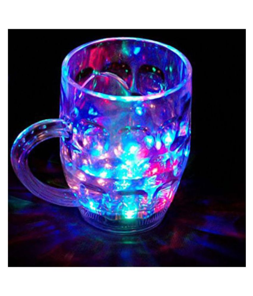 FSN Amazing Light Changing Fibre Glass Beer Mug With Inductive Rainbow Color Disco Led 7 Colour Changing Liquid Activated Lights Multi Purpose Use Mug.