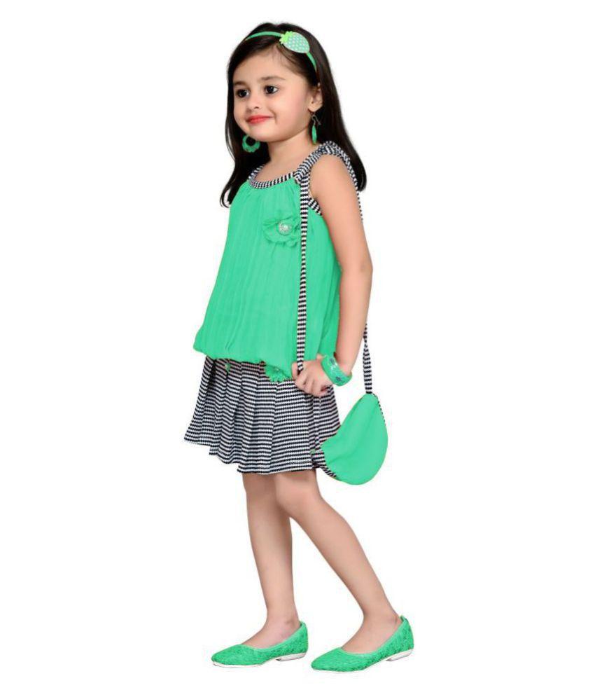 Aarika Georgette Fabric Self Design Top & Skirt (1-2 Years)