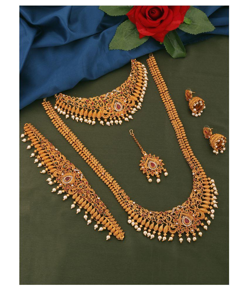 Spargz Alloy Golden Traditional Necklaces Set Choker
