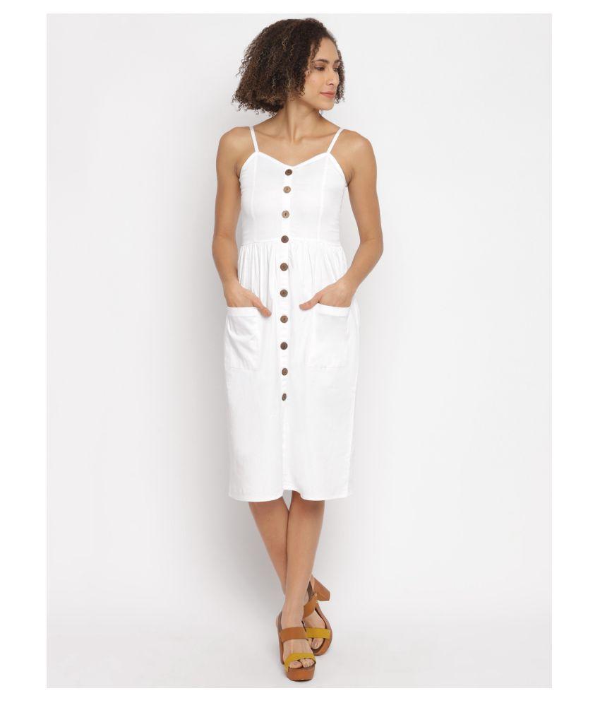 Stalk Cotton Lycra White A- line Dress