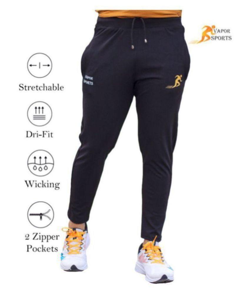 VAPOUR SPORTS Black Polyester Lycra Trackpants Single