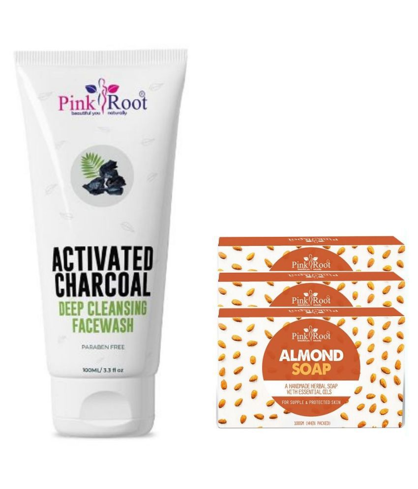 Pink Root Almond Soap 3Pcs With Activated Charcoal Face Wash 100 mL Pack of 4