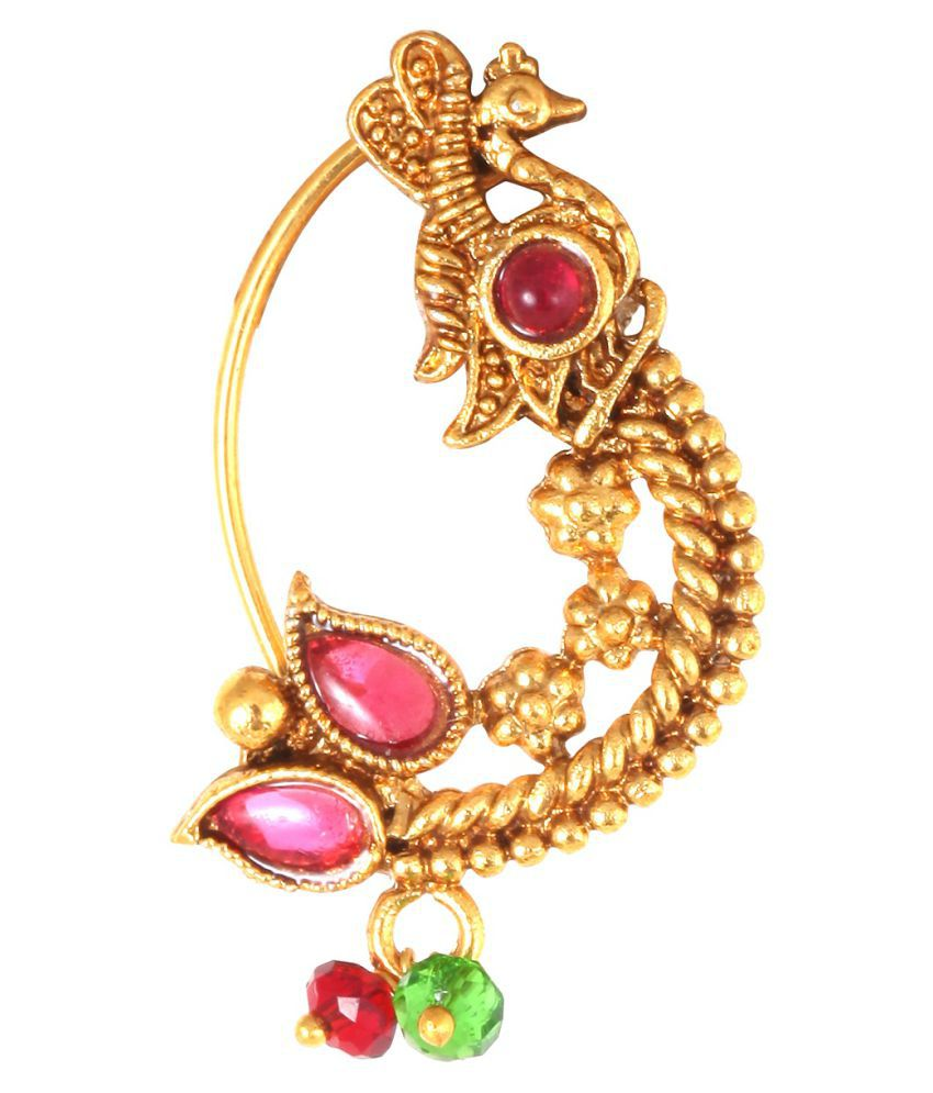 Vighnraj Jewels   Maharashtrian Nath Of Pearl Gold- Plated Brass Nath For Women