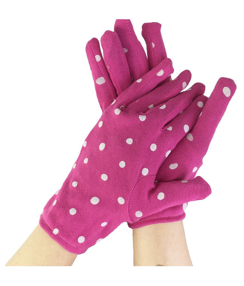 Vinnee Pink Polka Dotted Beautiful Styled Mordern Printed 100 % Cotton SuperSoft Palm Hand Gloves