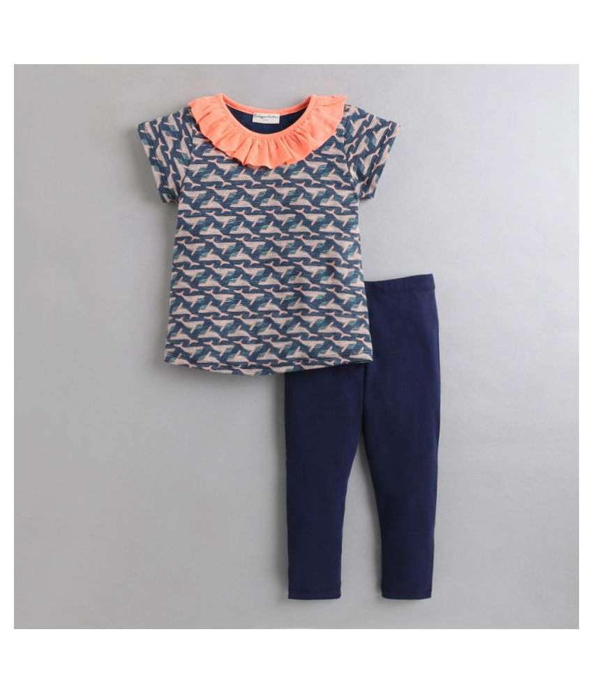 Hopscotch Baby Girls Cotton Ocean Life With Neck Frill Pant Set in Navy Color For Ages 12-24 Months (CRH-3416899)
