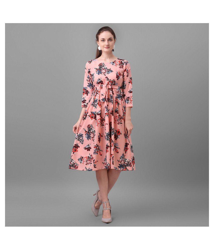 Pandadi Crepe Pink A- line Dress
