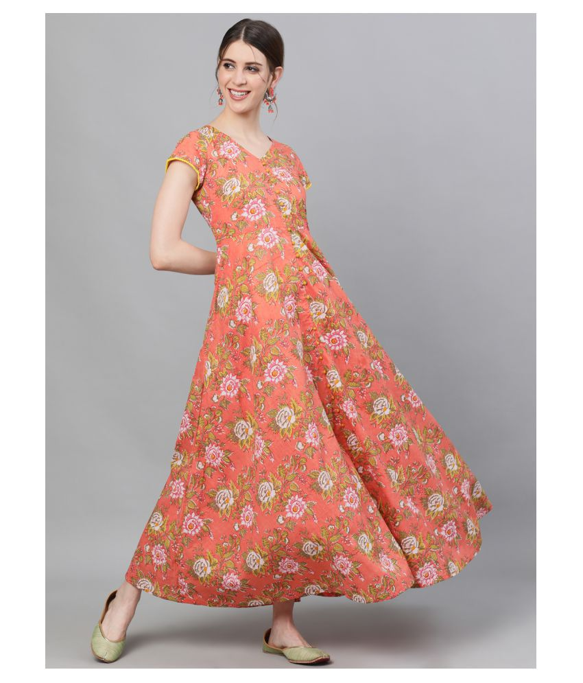 AKS Cotton Peach Fit And Flare Dress