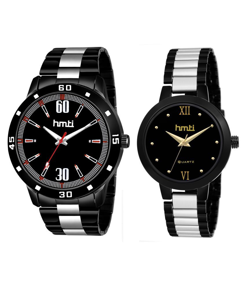 8501 All Black Couple Analog Watches For Men And Women