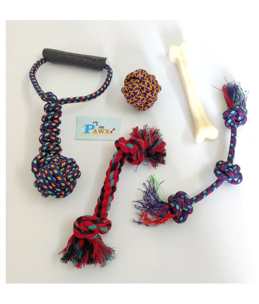 THE PAWXI PLASTIC BONE DOG TOY FOR PET, AND 4 COTTON ROPE TOYS FOR DOG TEETH CLEANING, PLAYING AND FETCH TOY (COLOUR-ASSORTED, COMBO OF 5 PC)