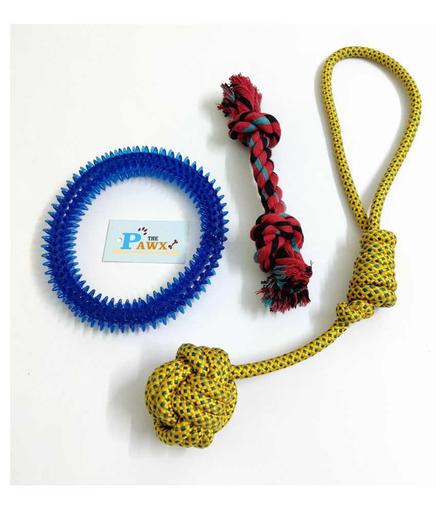 THE PAWXI RUBBER SPIKE RING DOG TOY FOR PET AND 2 COTTON ROPE TOYS FOR DOG TEETH CLEANING, PLAYING AND FETCH TOY (COLOUR-ASSORTED)