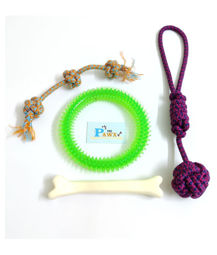 THE PAWXI RUBBER SPIKE RING DOG TOY FOR PET, BONE FOR DOG AND 2 COTTON ROPE TOYS FOR DOG TEETH CLEANING, PLAYING AND FETCH TOY (COLOUR-ASSORTED)
