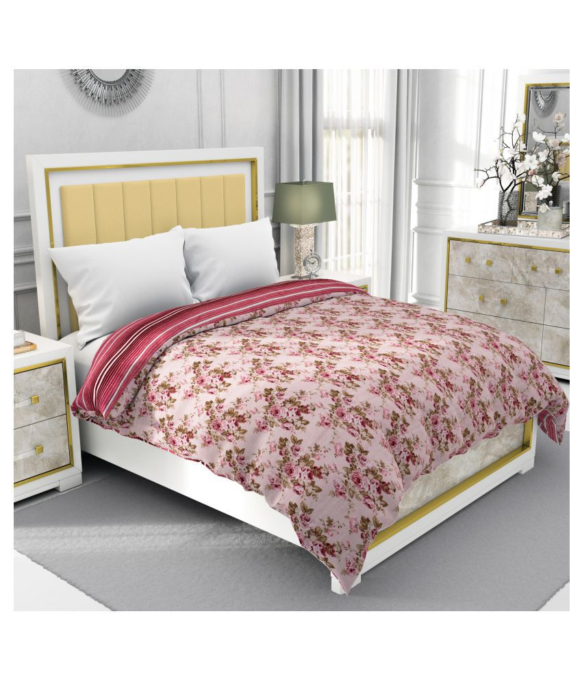 BE WANGLE Double Cotton Pink Floral Dohar