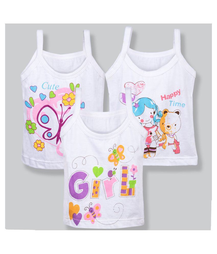 Care in Cotton Dori Sleeveless Sando Vest for Infants and Kids - White Color( Pack of 3)