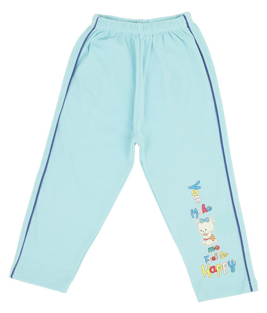 Bodycare Kids Infant Girls Sky Blue Printed Track Pant