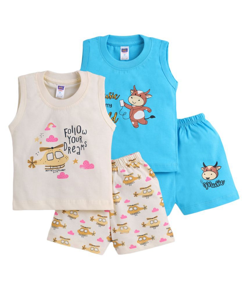Hopscotch Baby Boys Cotton Sleeveless Printed Short Set in Multi Color For Ages 0-6 Months (NPL-3620999)